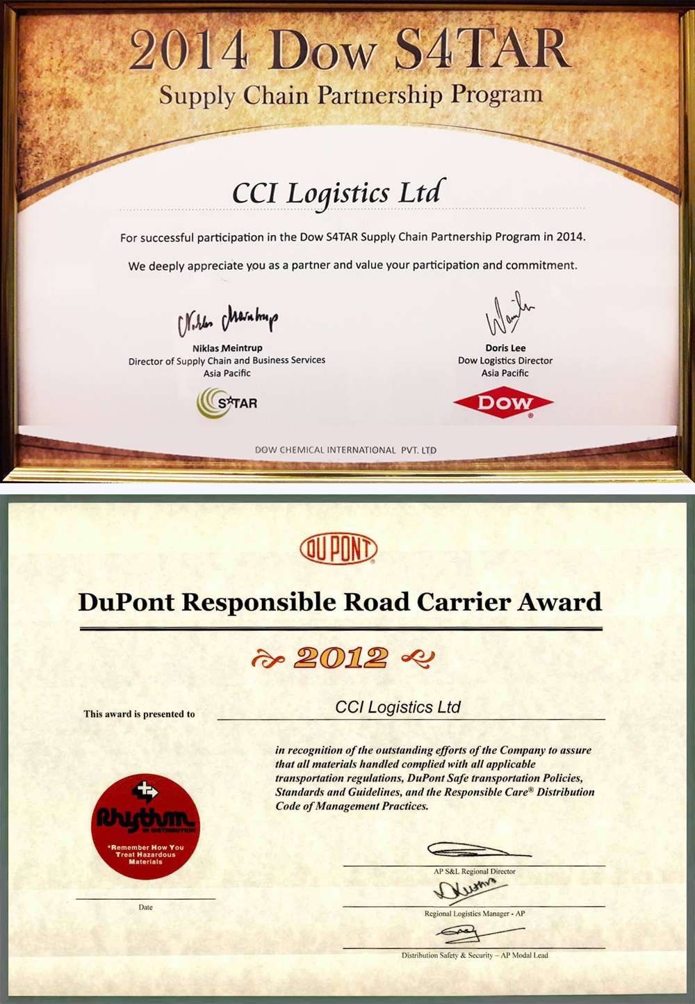Certifications Cci Logistics